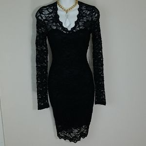 Dress bodycon black lace lined stretch long sleeve